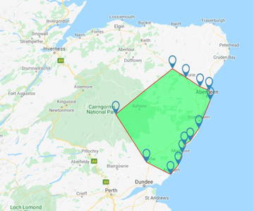 Gleaner Aberdeen Depot Delivery Area includes Balmedie, Portlethen, Stonehaven, Montrose, Braemar, Insch, Inverurie and Dyce